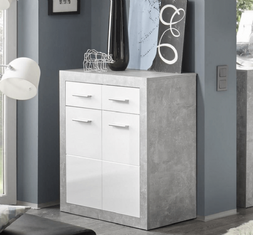 Pietra Small Sideboard Grey and White Gloss - 2699